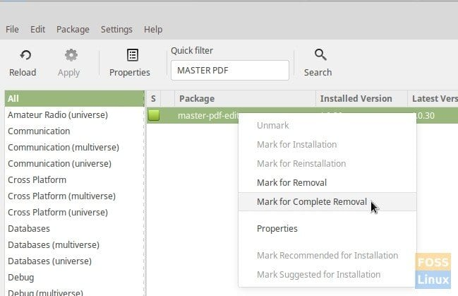 Uninstall Program from Synaptics Package Manager