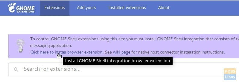 GNOME Shell Integration Browser Extension