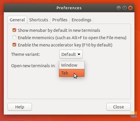 Editing Preferences - Open Terminal in Tabs