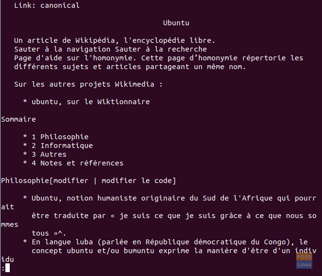 Result For Ubuntu Articles In Wikipedia With The Pager Option In French Language