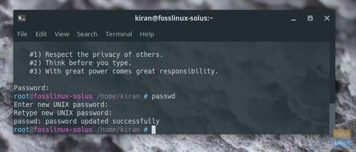 Changing Root Password in Solus