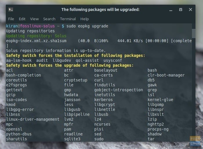 Installing Solus updates by command line