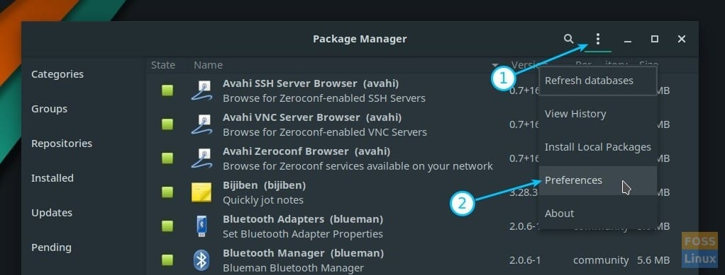 Package Manager Preferences in Manjaro GNOME Edition