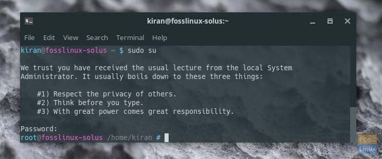 Root Password enabled in Solus
