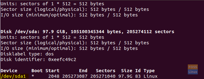 Determine the Partition on Which Ubuntu is Installed Using fdisk