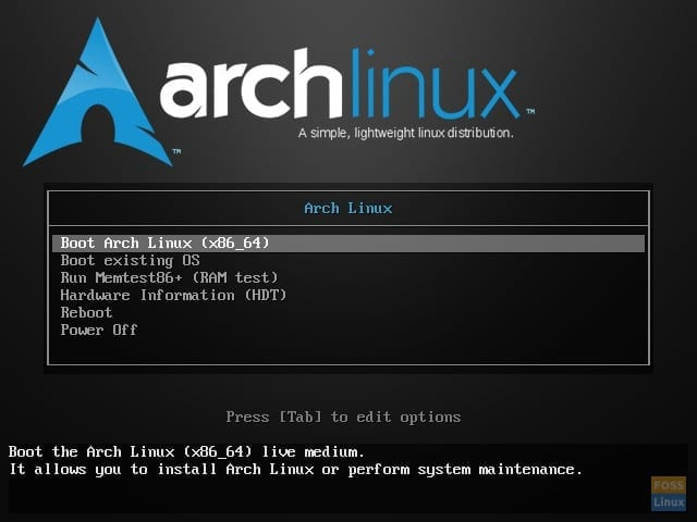 Arch Linux ISO menu