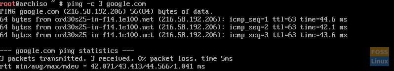Output of ping
