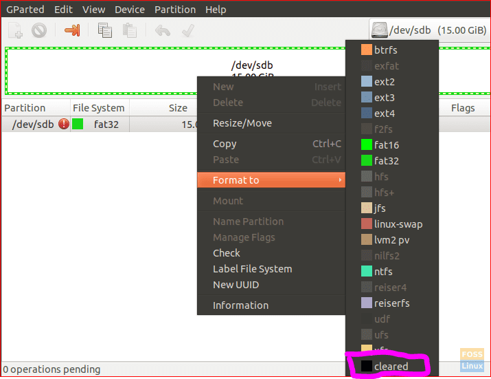 Clear Partitions On USB