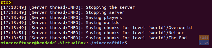 Stop The Minecraft Server
