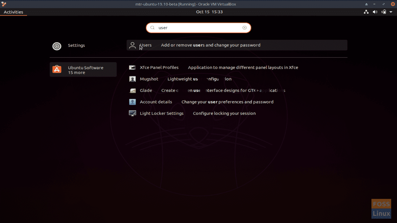 Access the Settings   Users option by typing Users.