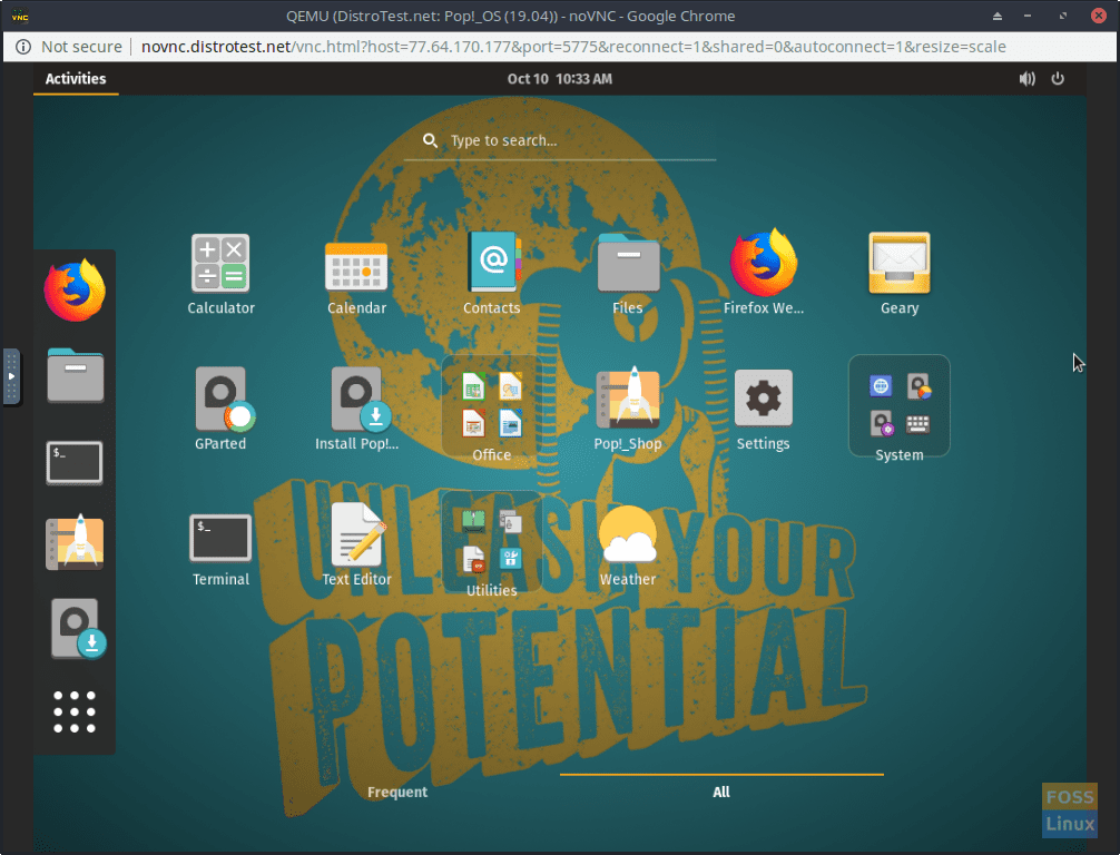 Pop!_OS - Navigating in the Built-In VNC Viewer.
