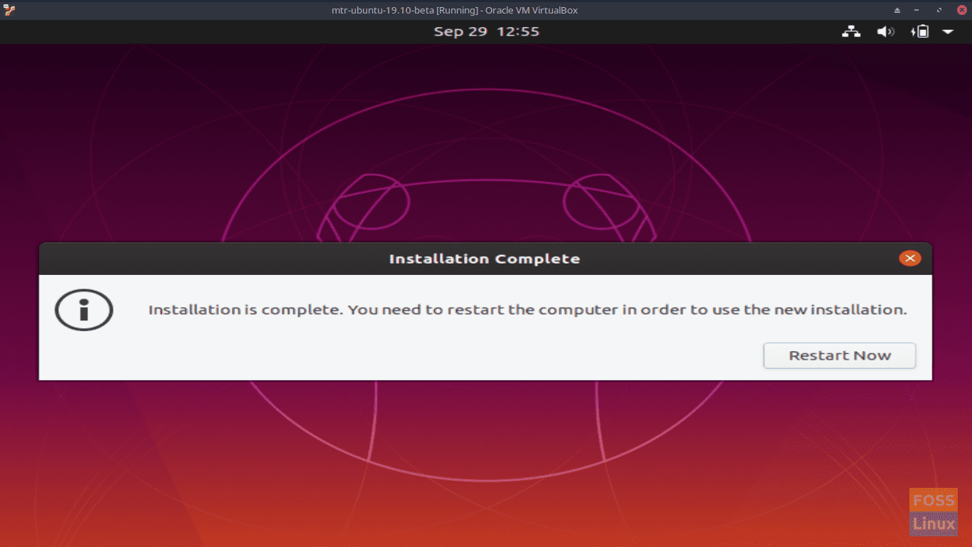 Installation is complete - Ubuntu 19.10 Beta Screen