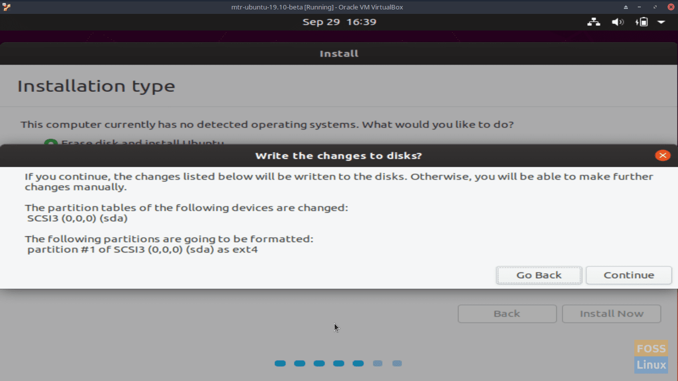 Installation type - Write the changes to disks- Ubuntu 19.10 Beta Screen