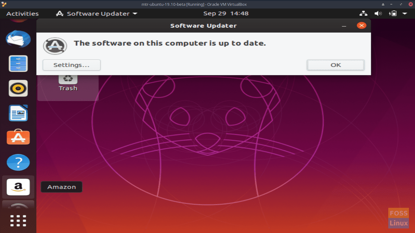 Software Updater - Computer is up to date - Ubuntu 19.10 Beta Screen