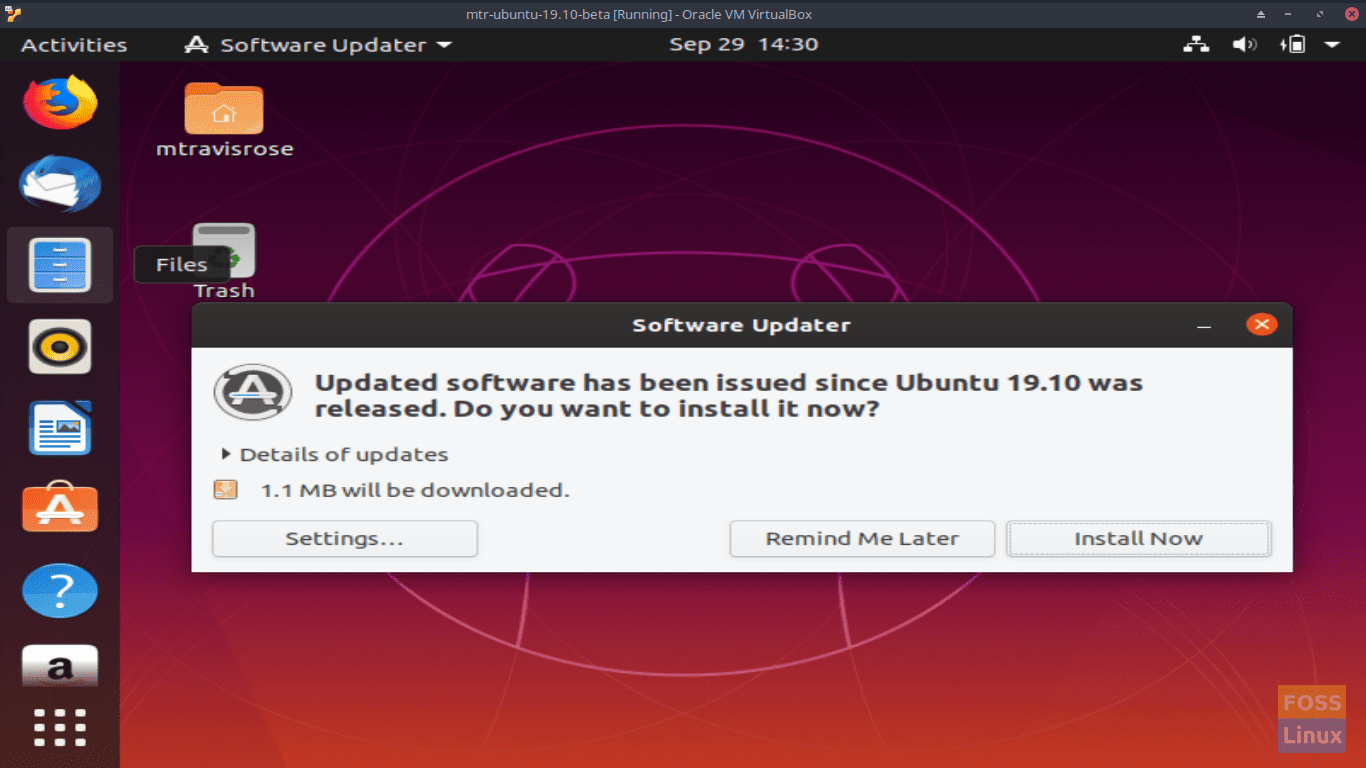 Software Updater - Ubuntu 19.10 Beta Screen
