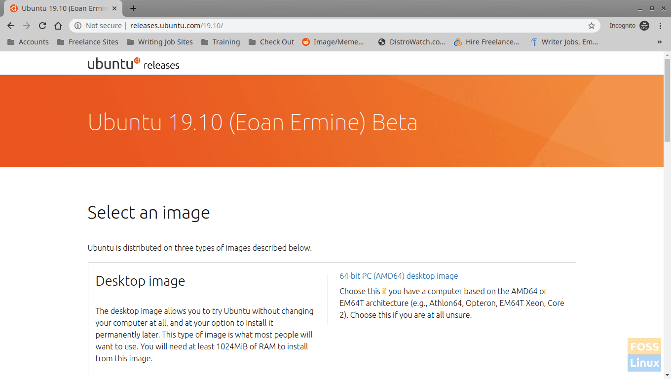 Ubuntu 19.10 Beta Download Page - http://releases.ubuntu.com/19.10/