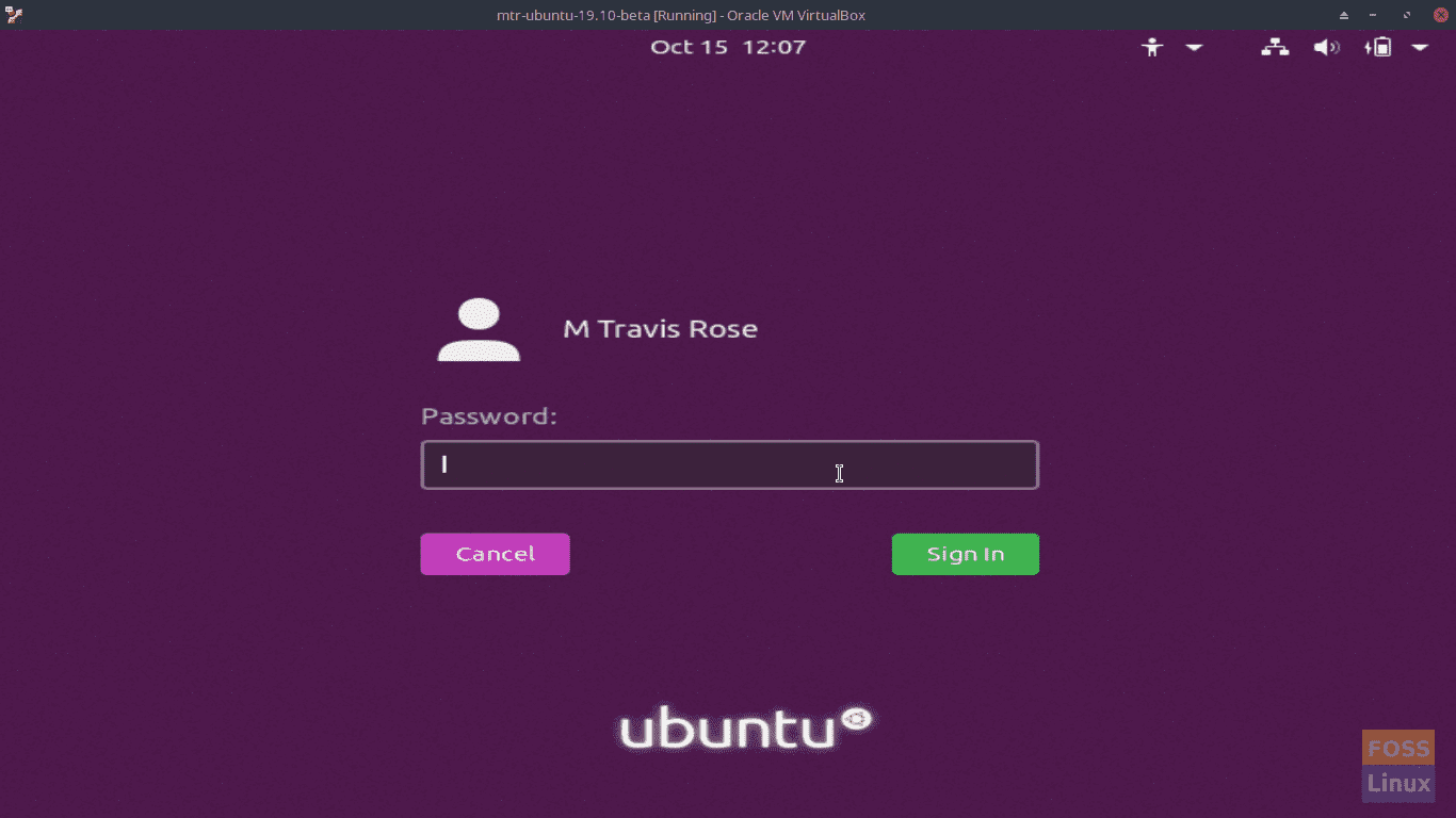 Ubuntu 19.10 Login Screen