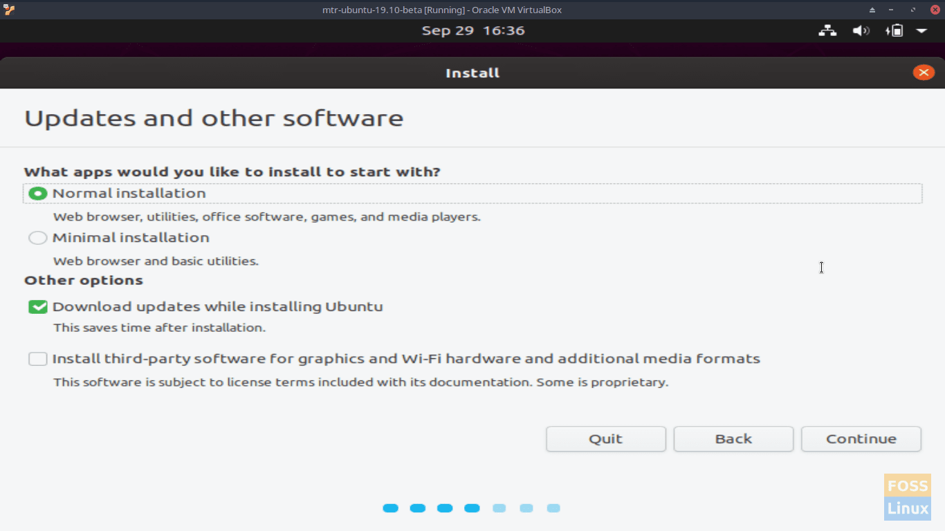 Updates and Other Software - Ubuntu 19.10 Beta Screen