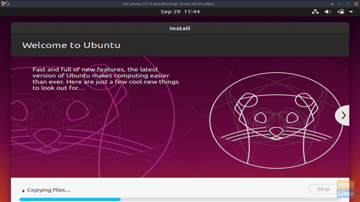 Welcome to Ubuntu - Ubuntu 19.10 Beta Screen