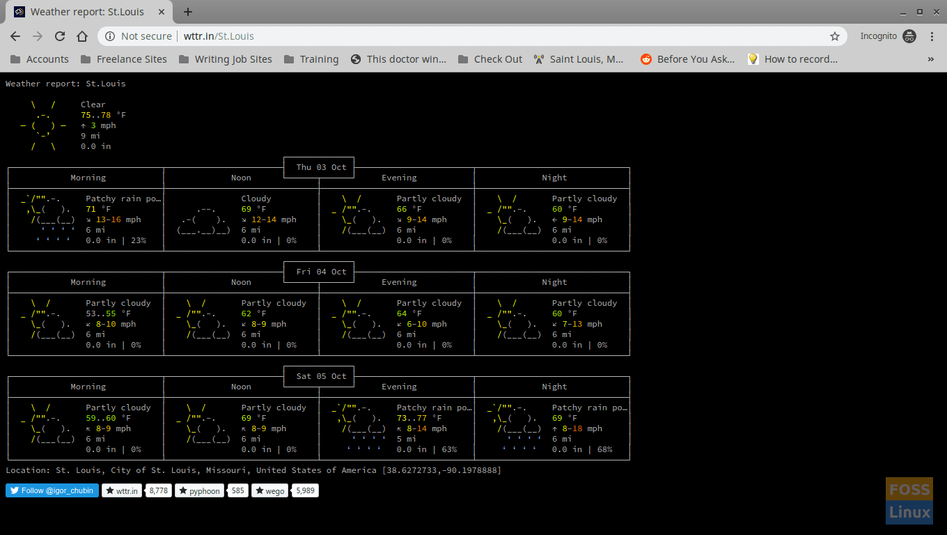 wttr.in in the browser