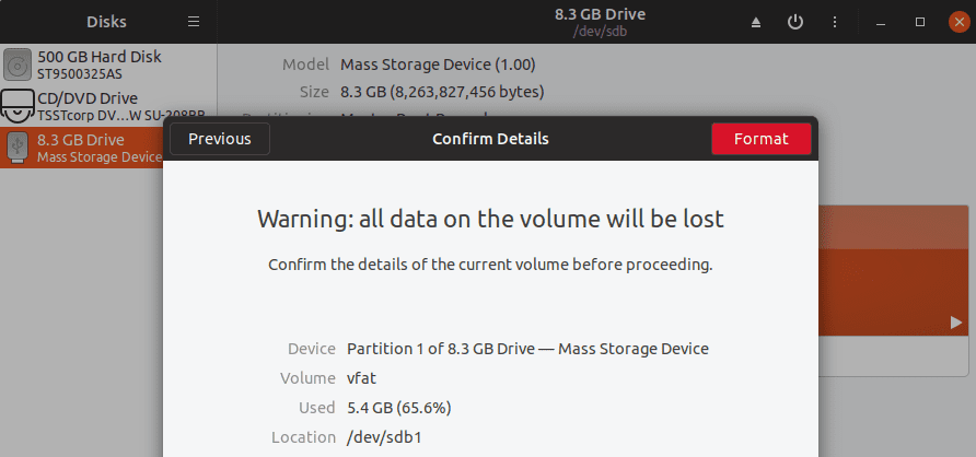 The Format warning screen