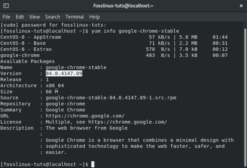image-of-checking-Chrome-Version-in-repository
