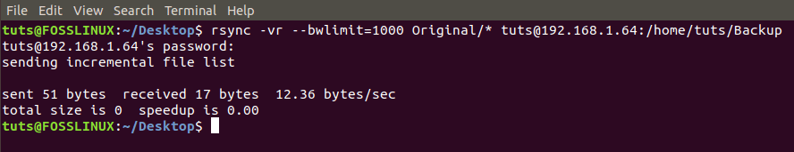 Set bandwidth limit required to transfer files