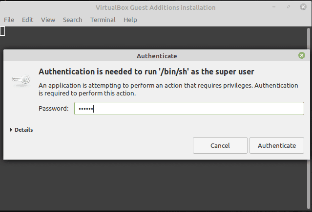 Linux Mint advance features installation password prompt