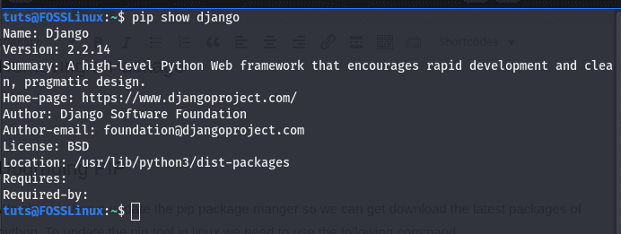 package details using pip