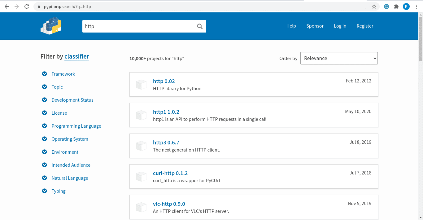 searching a package at pypi website