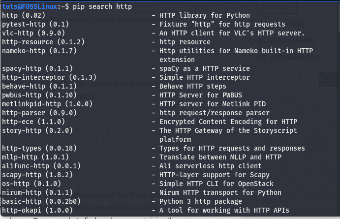 searching a package using pip search