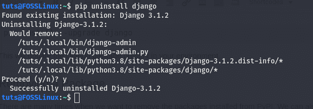 uninstalling a package using pip