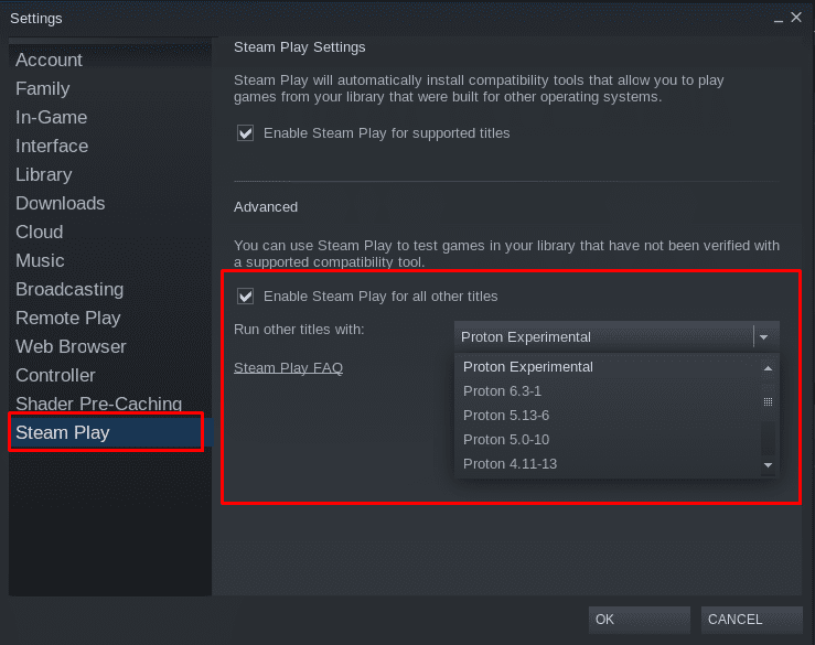 SteamPlay - Enable Proton