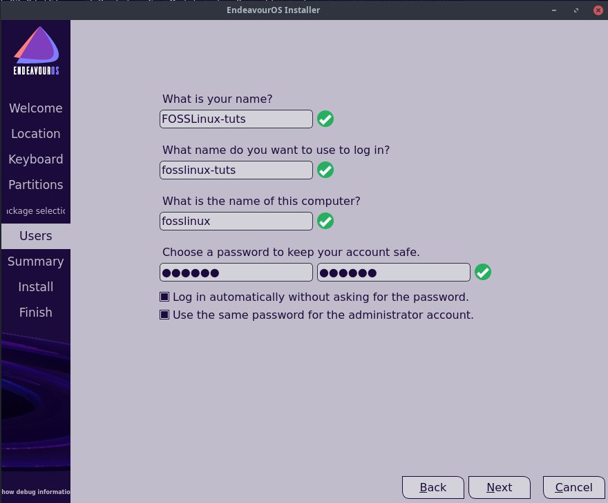 Create new User and Password