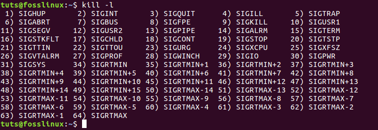 Complete list of all the signals available using the kill -l command