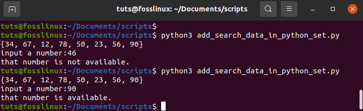 Add and search data in a Python set