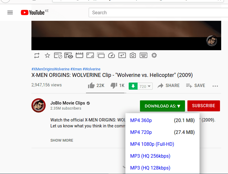 1-Click YouTube Video Download