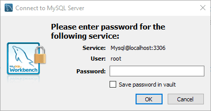 MySQL Enter Credentials to connect to Database Server