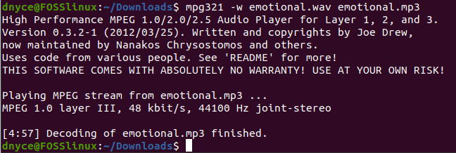 using mpg321 to convert a .mp3 file to a .wav file format