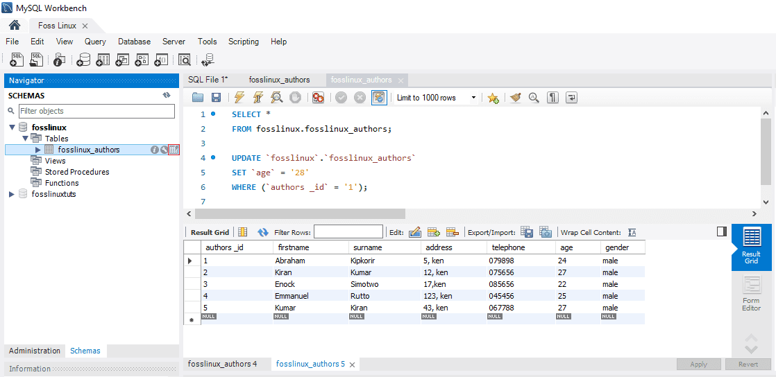 MySQL Click the highlighted table icon