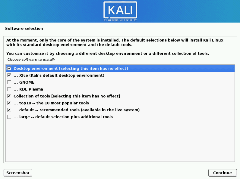 kali linux choose software to install