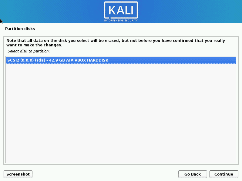 kali linux select disk to partition