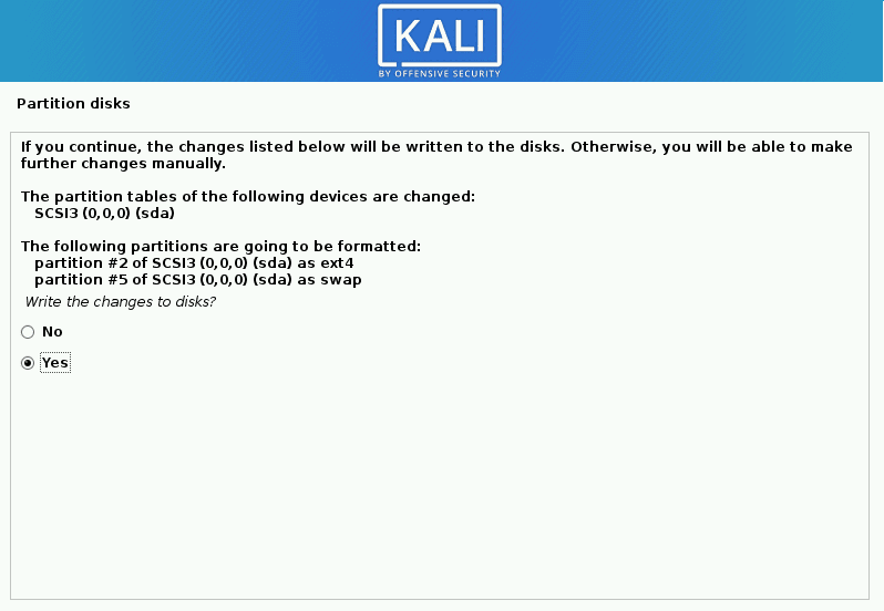 kali linux write the changes to the disk