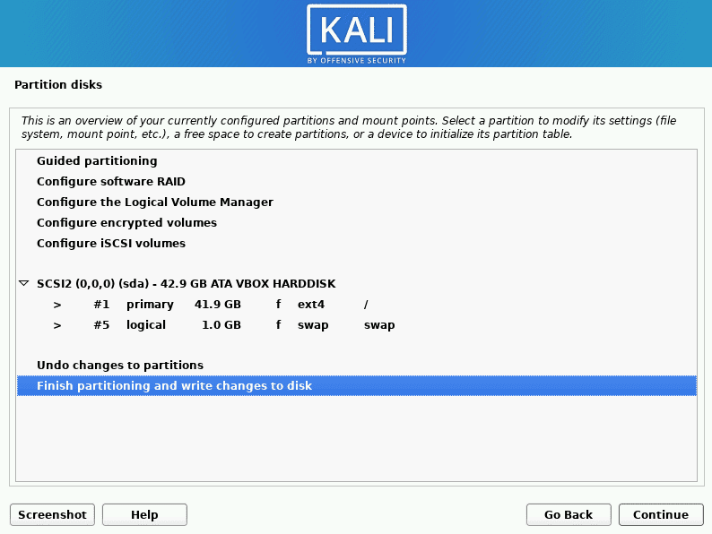 kali linux finish partitioning and write changes to disk