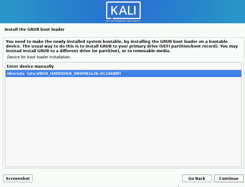 kali linux select the device for bootloader installation