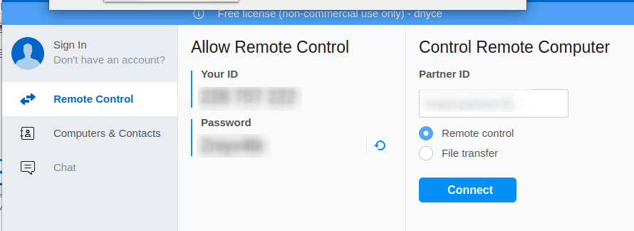 Using TeamViewer to make a remote computer connection