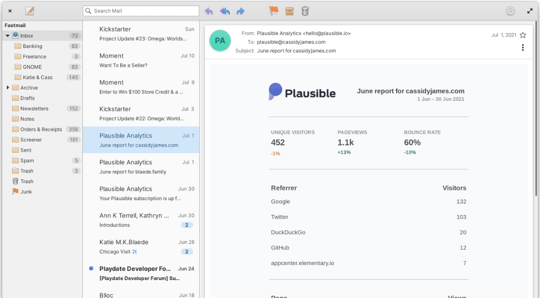 elementary os 6 odin mail support