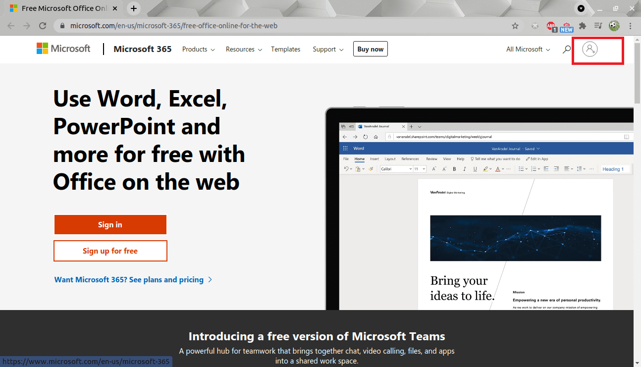 microsoft official page