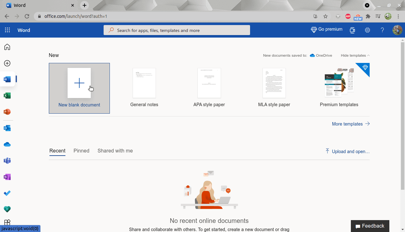 select new blank document