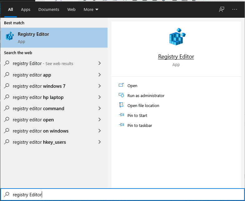 Searching-for-Registry Editor